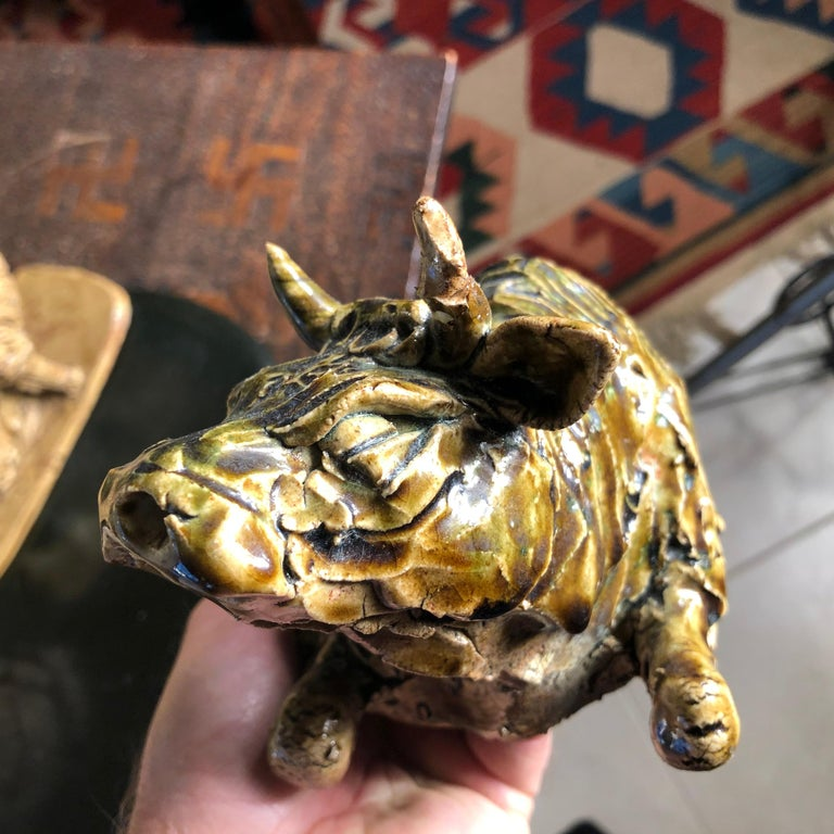Japanese Collection Five '5' Hand Painted Animals, Old Hand Craft Fine Details For Sale 4