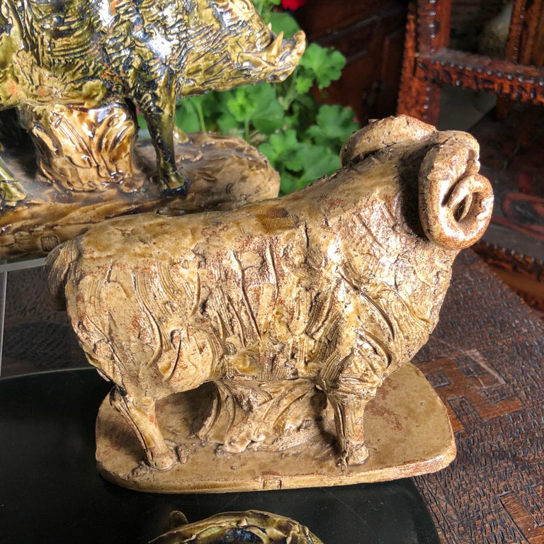 Japanese Collection Five '5' Hand Painted Animals, Old Hand Craft Fine Details For Sale 9