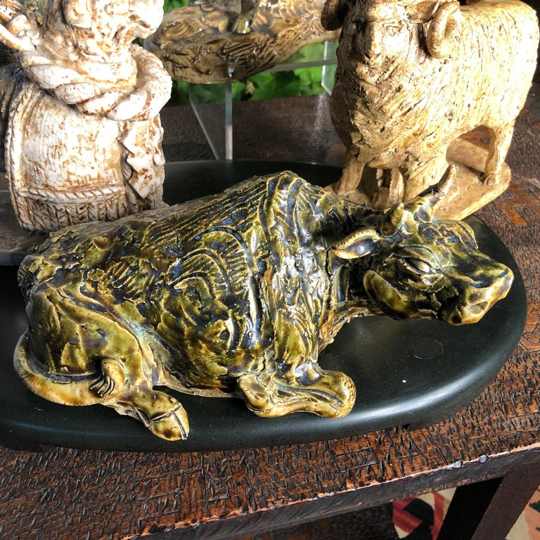 Glazed Japanese Collection Five '5' Hand Painted Animals, Old Hand Craft Fine Details For Sale