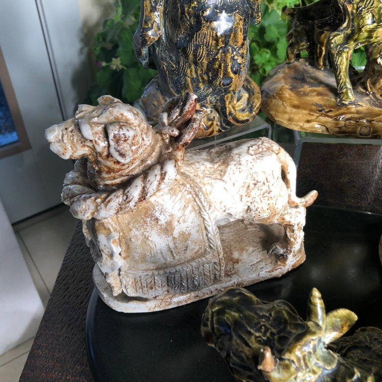 Ceramic Japanese Collection Five '5' Hand Painted Animals, Old Hand Craft Fine Details For Sale