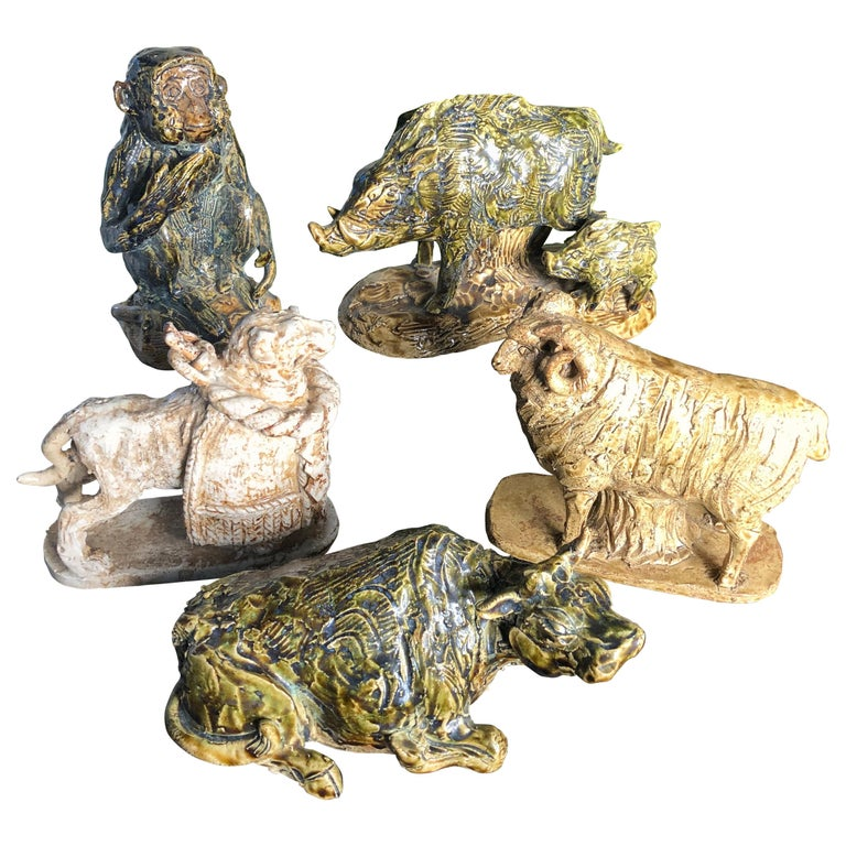 Japanese Collection Five '5' Hand Painted Animals, Old Hand Craft Fine Details For Sale