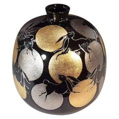 Japanese Contemporary Black Platinum Gold Porcelain Vase by Master Artist
