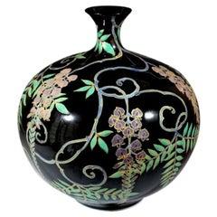 Japanese Contemporary Black Purple Green Porcelain Vase by Master Artist