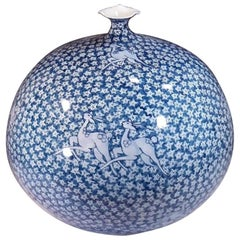 Japanese Contemporary Blue and White Porcelain Vase by Master Artist