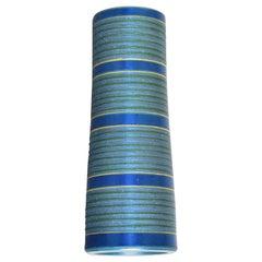 Japanese Contemporary Blue Ceramic Vase by Master Artist