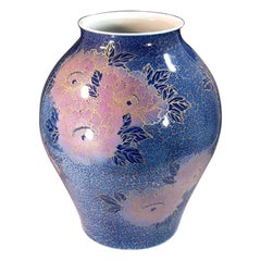 Japanese Contemporary Blue Gold Porcelain Vase by Master Artist