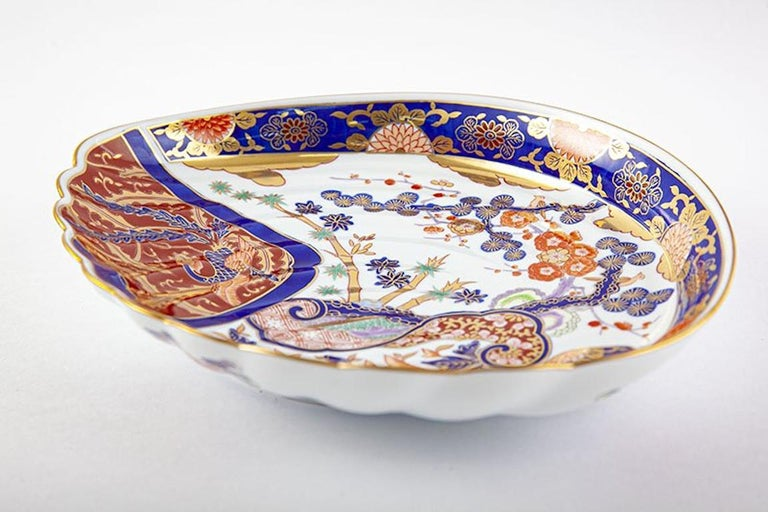 Edo Japanese Contemporary Blue Gold White Porcelain Charger by Renowned Kiln For Sale