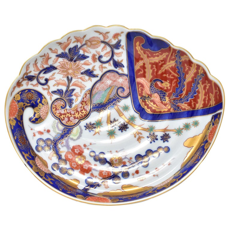Japanese Contemporary Blue Gold White Porcelain Charger by Renowned Kiln For Sale