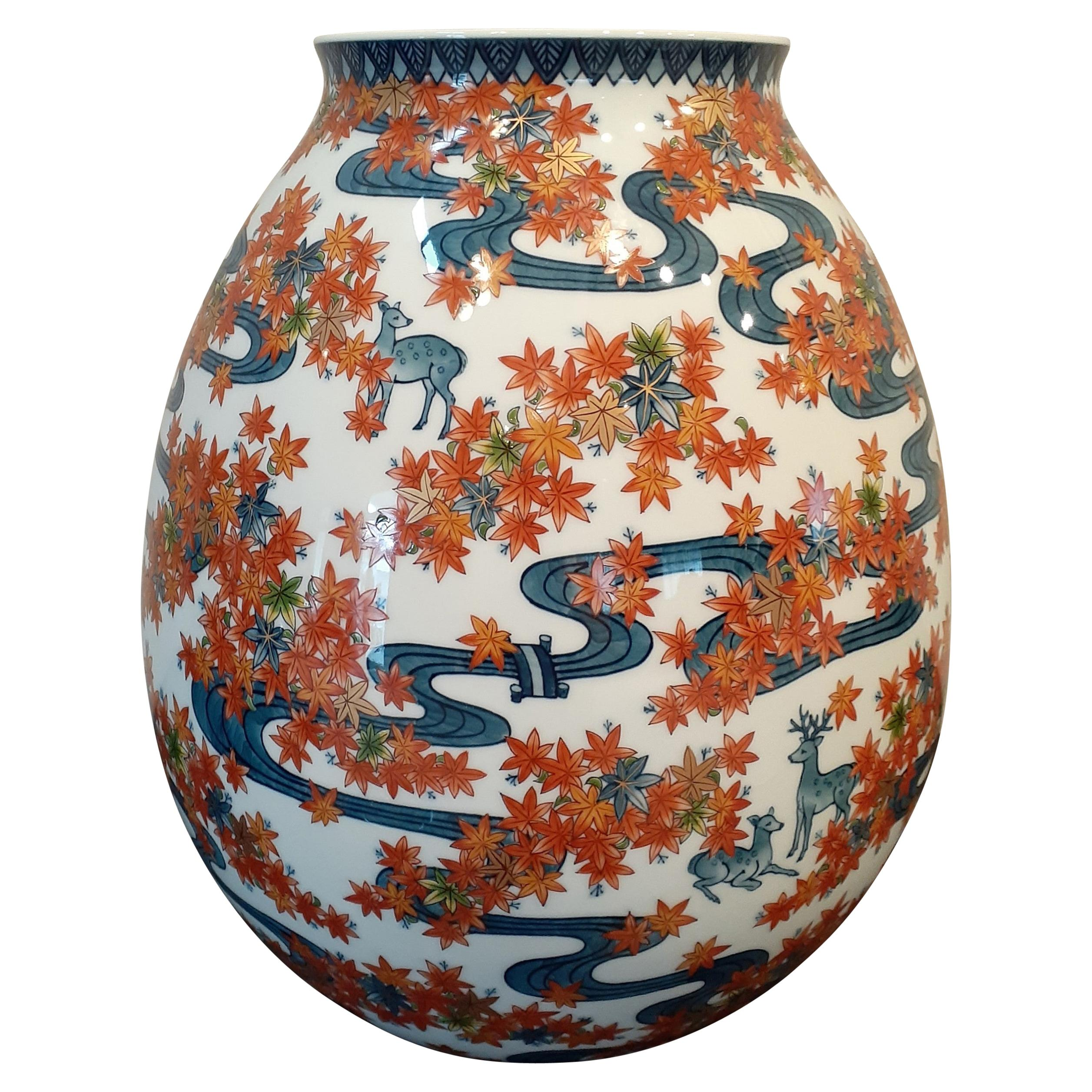 Japanese Contemporary Blue Green Orange Gold Porcelain Vase by Master Artist