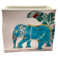 Japanese Contemporary Blue Green Porcelain Vase by Master Artist