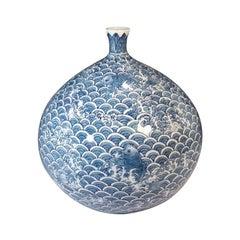 Japanese Contemporary Blue White Porcelain Vase by Master Artist