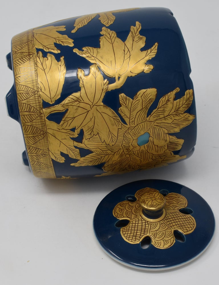 Gilt Japanese Contemporary Blue Pure Gold Porcelain Incense Burner by Master Artist For Sale