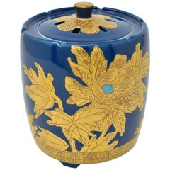 Japanese Contemporary Blue Pure Gold Porcelain Incense Burner by Master Artist