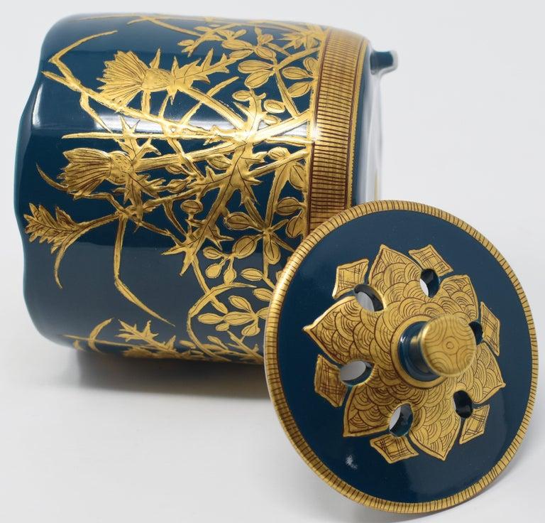Japanese Contemporary Blue Pure Gold Porcelain Incense Burner by Master Artist For Sale 1