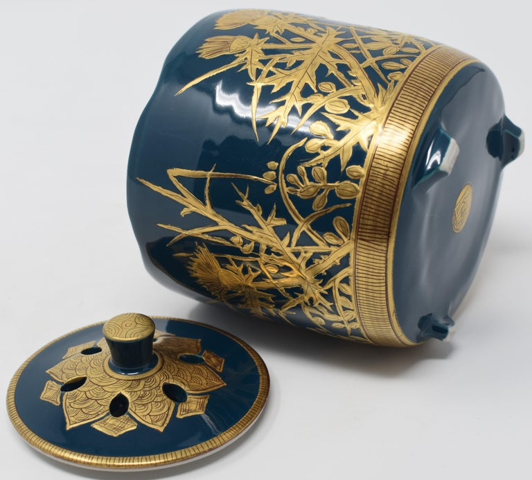 Japanese Contemporary Blue Pure Gold Porcelain Incense Burner by Master Artist For Sale 2