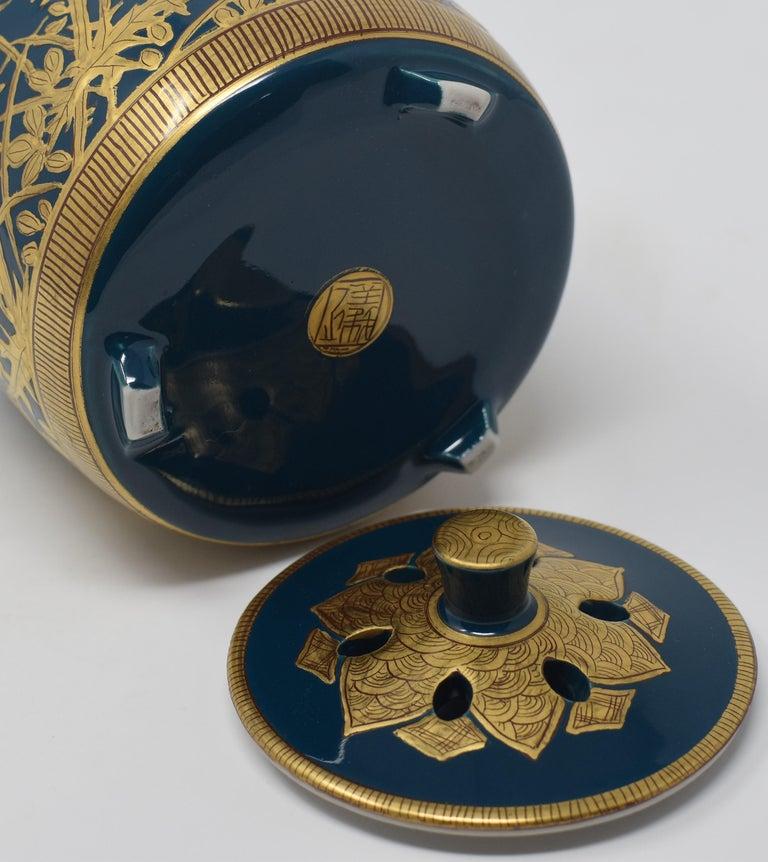 Japanese Contemporary Blue Pure Gold Porcelain Incense Burner by Master Artist For Sale 3