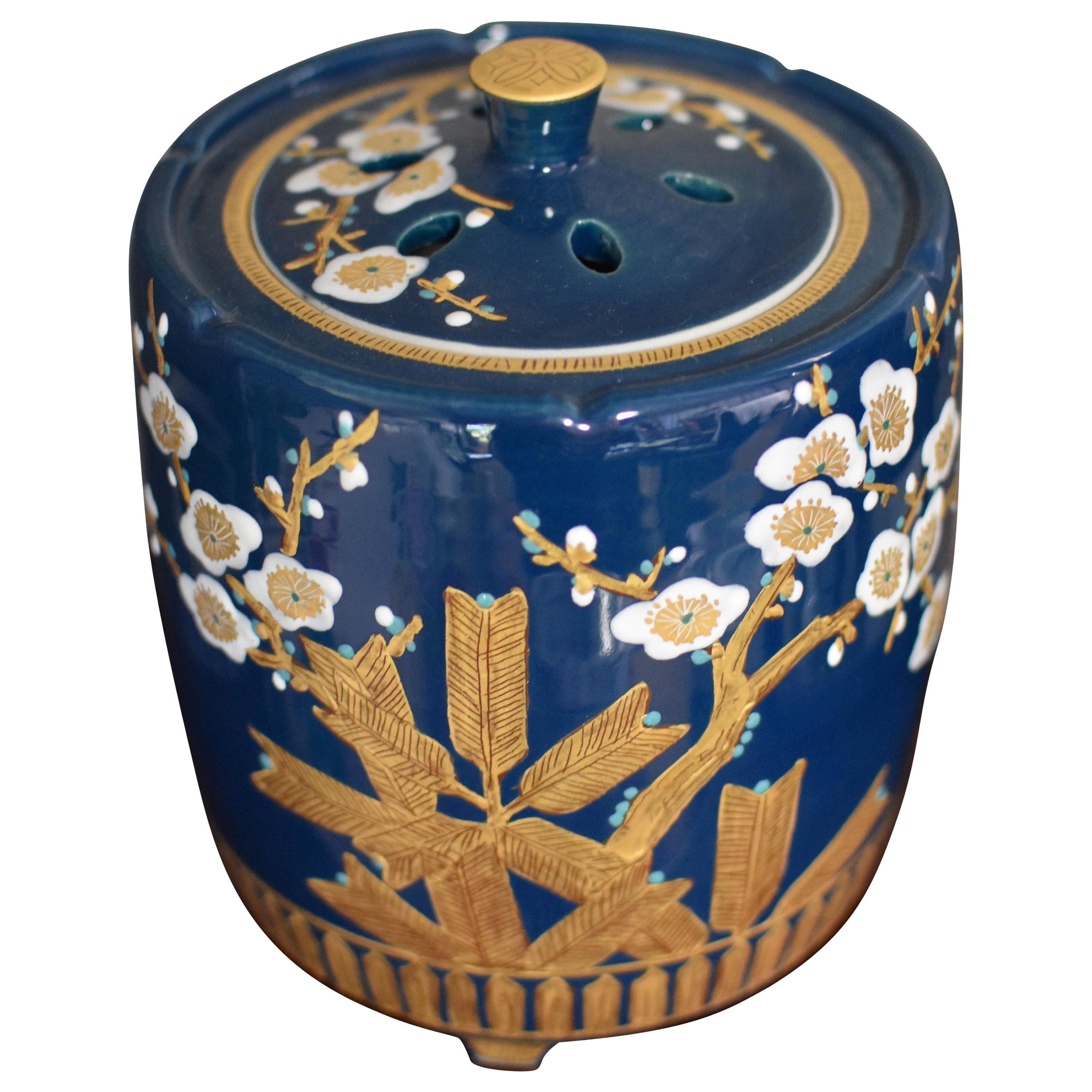 Japanese Blue Pure Gold Porcelain Incense Burner by Contemporary Master Artist