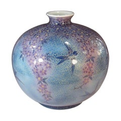 Japanese Contemporary Blue Purple Gold Porcelain Vase by Master Artist