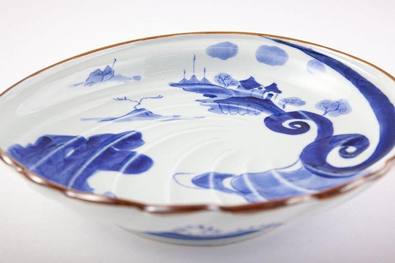Japanese Contemporary Blue White Porcelain Charger by Renowned Kiln In New Condition For Sale In Vancouver, CA