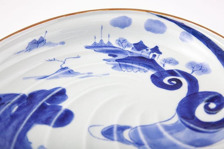 Japanese Contemporary Blue White Porcelain Charger by Renowned Kiln For Sale 1