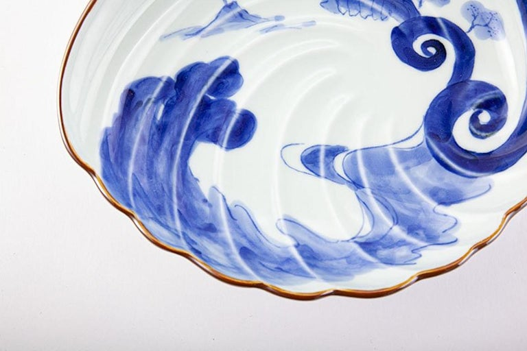 Japanese Contemporary Blue White Porcelain Charger by Renowned Kiln For Sale 2