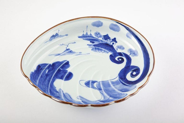 Japanese Contemporary Blue White Porcelain Charger by Renowned Kiln For Sale 4
