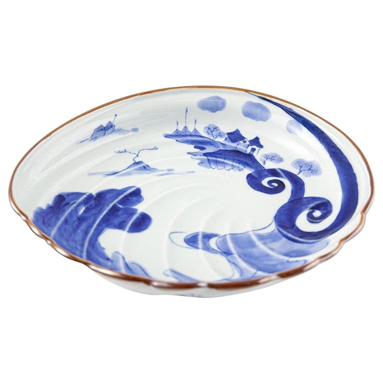 Japanese Contemporary Blue White Porcelain Charger by Renowned Kiln For Sale