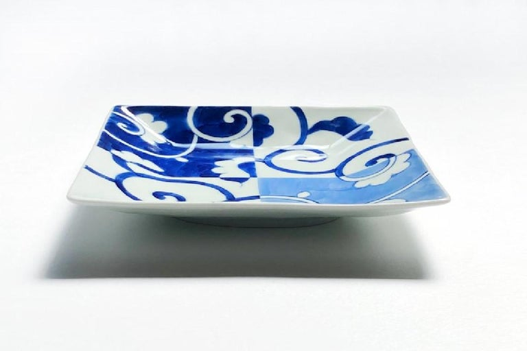 Hand-Painted Japanese Contemporary Blue White Porcelain Dessert or Bread Plate For Sale