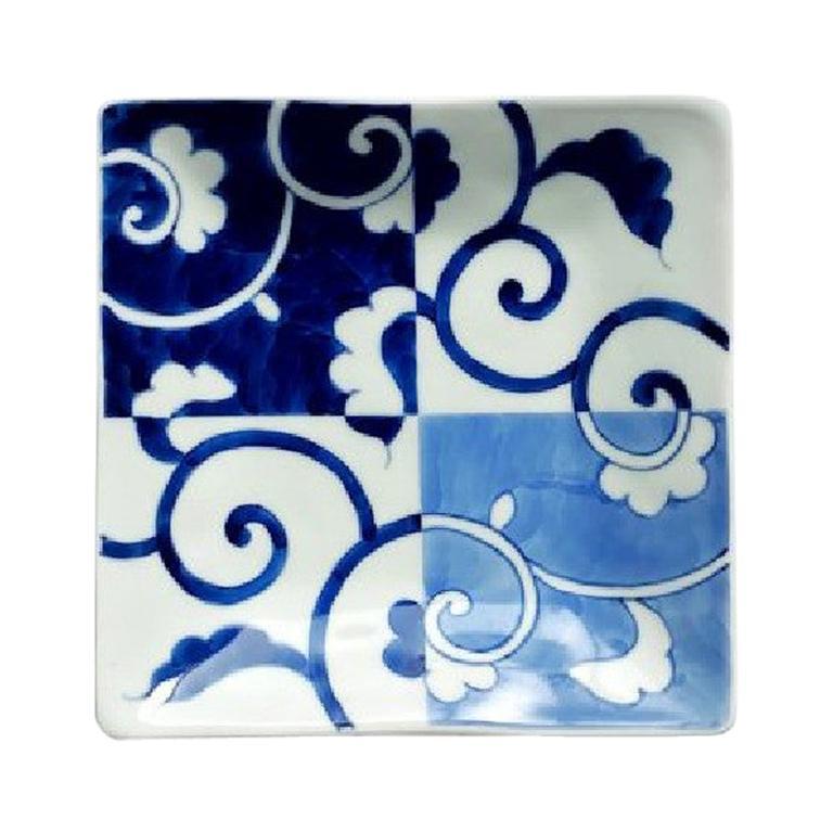 Japanese Contemporary Blue White Porcelain Dessert or Bread Plate For Sale