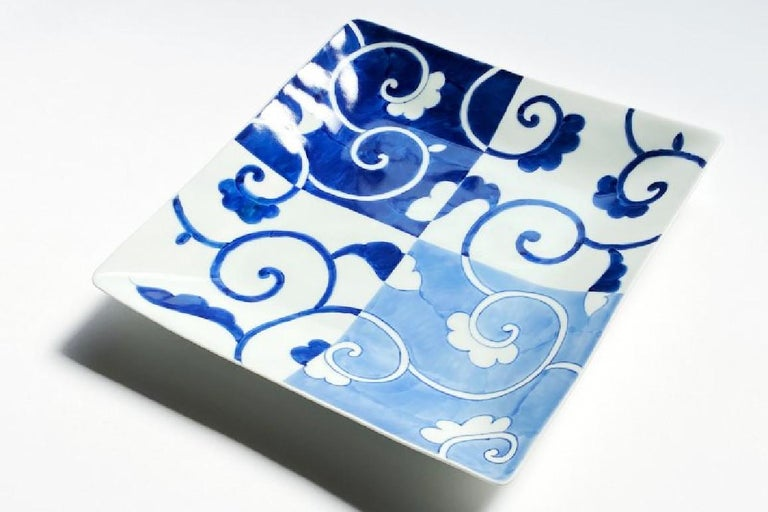 Hand-Painted Japanese Contemporary Blue White Porcelain Dinner Plate For Sale