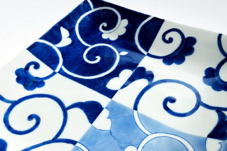 Japanese Contemporary Blue White Porcelain Dinner Plate For Sale 1