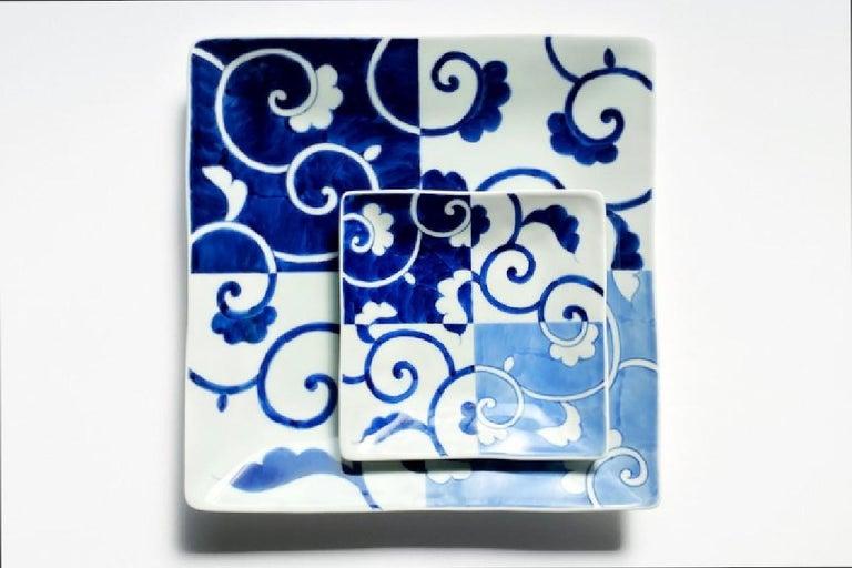 Japanese Contemporary Blue White Porcelain Dinner Plate For Sale 3