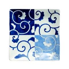 Japanese Contemporary Blue White Porcelain Dinner Plate