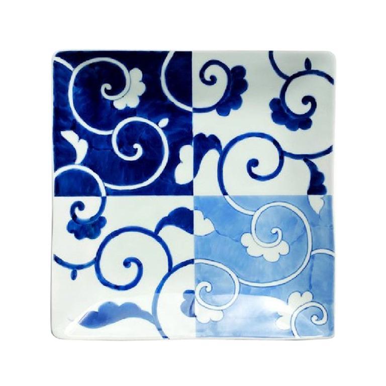 Japanese Contemporary Blue White Porcelain Dinner Plate For Sale