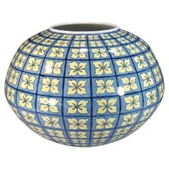 Japanese Contemporary Blue Yellow Porcelain Vase by Master Artist