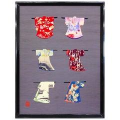 Japanese Contemporary Framed Silk Brocade Oshie Decorative Art