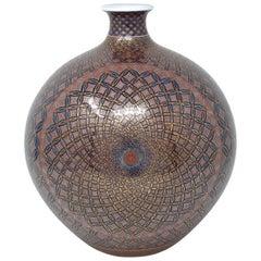 Japanese Contemporary Gilded Black Red Imari Ceramic Vase by Master Artist