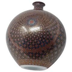 Japanese Contemporary Gilded Black Red Imari Porcelain Vase by Master Artist