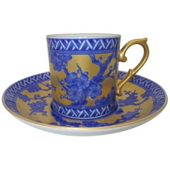 Japanese Contemporary Gilded Blue Ko-Imari Porcelain Cup and Saucer Hand Painted