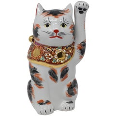 Japanese Contemporary Gilded Hand-Painted Kutani Porcelain Beckoning Cat