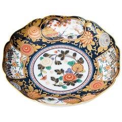 Japanese Contemporary Gilded Ko-Imari Blue Porcelain Dessert Plate