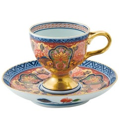 Japanese Contemporary Gilded Ko-Imari Porcelain Cup and Saucer Hand Painted