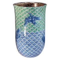 Japanese Contemporary Green Blue Platinum Porcelain Vase by Master Artist