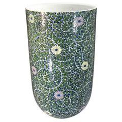 Japanese Contemporary Green Blue Purple Porcelain Vase by Master Artist