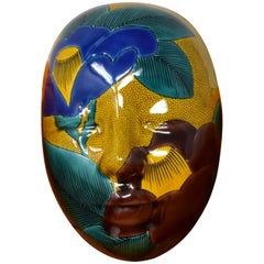 Japanese Contemporary Green Blue Yellow Ceramic Mask by Master Artist