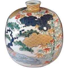 Japanese Contemporary Green, Red, Blue and Gold Porcelain Vase by Master Artist