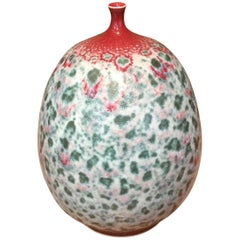Japanese Contemporary Green Red Hand-Glazed Porcelain Vase by Master Artist
