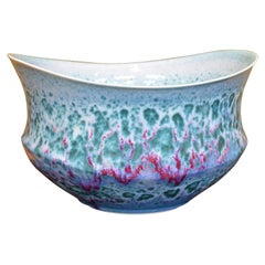 Japanese Green Hand-Glazed Porcelain Vase by Master Artist