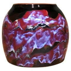 Japanese Contemporary Hand-Glazed Red Black Ceramic Vase by Contemporary Artist