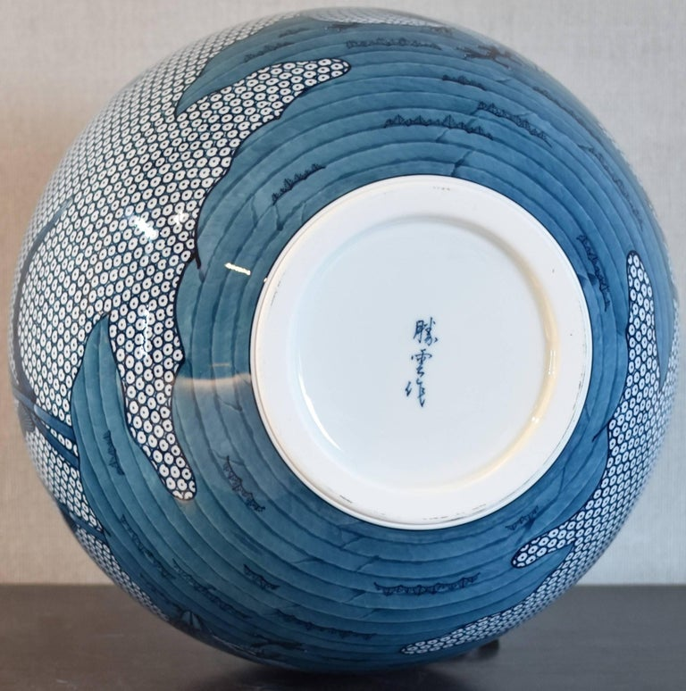 Japanese Blue White Hand Painted Porcelain Vase by Master Artist In New Condition For Sale In Vancouver, CA